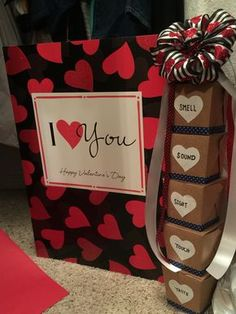 Valentine's Day gift under 20 dollars! Appeal to the five senses Use some of his/her favorite items inside each box.