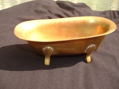 "Adorable Vintage Miniature Brass Bath Tub for Doll House or Soap Dish $6.99 6835linda  about 5 1/2"" long"