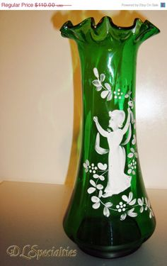 Victorian Fluted Emerald Glass Mary Gregory Vase.
