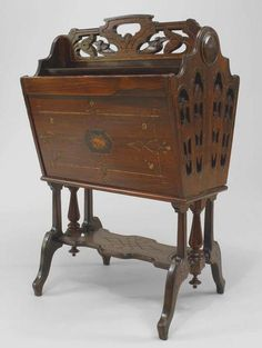 American Victorian (Eastlake Style) Rosewood Magazine Rack With Ebonized And Gilt Trim And Inlaid Side Panels With Stretcher At Base