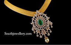 Broad Gold Mesh Necklace with Diamond Pendant - Indian Jewellery Designs Gold Earrings Designs, Gold Jewellery Design, Necklace Designs, Gold Designs, Gold Pendent, Diamond Pendant, Diamond Necklace Set, Diamond Jewelry, Diamond Bracelets