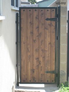 Wooden Gates, Wood Doors, Advanced Iron Concepts Call For Wood Entry Doors At Wooden Garden Gate, Metal Garden Gates, Metal Gates, Wooden Gates, Garden Doors, Metal Gate Door, Wooden Gate Designs, Gate Designs Modern, Backyard Gates