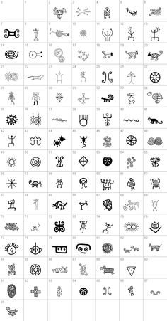 """Petroglifos Font: """"Petroglifos"""" is a dingbats font as a collection of pre-Hispanic petroglyphs of indigenous ethnic Venezuela, most of them are found in. Tribal Pattern Art, Aztec Art, Ancient Symbols, Ancient Art, Viking Symbols, Egyptian Symbols, Viking Runes, Aztec Symbols, Mayan Symbols"""
