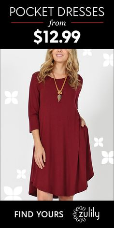 Sign up to shop pocket dresses from $12.99. Enliven your wardrobe with this dress that features pockets, trend-right three-quarter sleeves and a free-flowing silhouette. Shop and save today.
