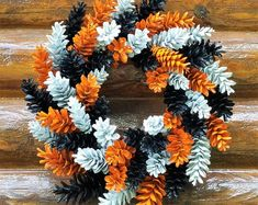 Halloween Pine Cone Wreath, Orange Black and White Wreath, Holiday Wreath, Fall Wreath, Rustic Wreath by TwoPondsFarm on Etsy Pine Cone Art, Pine Cone Crafts, Pine Cones, Pine Cone Wreath, Frame Wreath, Diy Wreath, Wreath Fall, Holiday Wreaths, Holiday Crafts