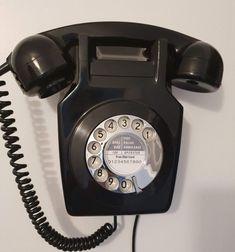Original Vintage Retro 1970's GPO 741 Rotary Dial Black Wall Mounted Telephone