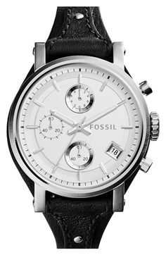 Fossil 'Original Boyfriend' Chronograph Leather Strap Watch, 38mm available at #Nordstrom
