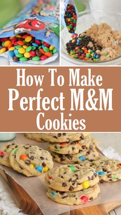 These Magical Peanut Butter M&M Christmas Cookies are the perfect Christmas cookies for family Christmas parties or for Santa! Chocolate chips and peanut butter M&M candies make them extra delicious! Köstliche Desserts, Delicious Desserts, Dessert Recipes, Yummy Food, Easy Cookie Recipes, Baking Recipes, Homemade M&m Cookie Recipe, M&m Cookie Cake Recipe, Cookie Favors