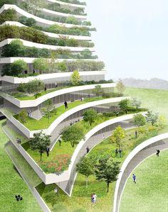 La ciudad de Bac Ninh, en Vietnam, quiere construir el Green City Hall, un edificio con dos torres inclinadas repleto de vegetación que servirá como el nuevo ayuntamiento de la ciudad. #arquitectura #ecologia