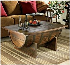 old wine barrel as a coffee table... doable