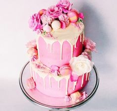 Wedding cake || Pink - Macarons