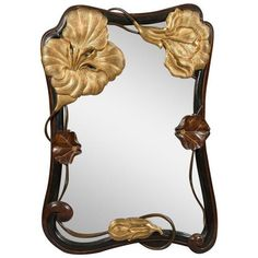 French Art Nouveau Style Wall Mirror, Circa 1930 ($4,500) ❤ liked on Polyvore featuring home, home decor, mirrors, flower stem, flower home decor, flower mirror, gilt mirror and floral home decor