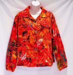 Chicos Corduroy Jacket Shirt Colorful Orange Design Womens Size 2  #Chicos #ButtonDownShirtorJeanJacket #Casual