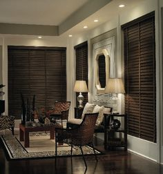 Mahogany Finish Wood Blinds Wood blinds add a touch of elegance to any room in your home. Deep rich wood mahogany with decorative tapes brings this room together. Wooden blinds for family room Budget Blinds, Diy Blinds, Curtains With Blinds, Privacy Blinds, Sheer Blinds, Blackout Blinds, Dark Wood Blinds, Dark Wood Floors, Wooden Window Blinds