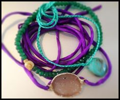 Purple silk wrap with 24 kt gold edged druzy, stack it with our green onyx stretch bracelet or tie wrap many colors available send an email for inquiries.