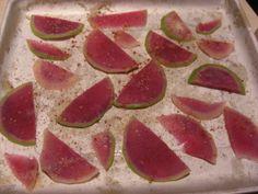 baked watermelon radish chips