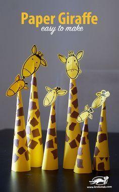 Paper Giraffes – so easy to make Basteln mit Papier - Tiere basteln - diesmal Giraffen. Quick Crafts, Animal Crafts For Kids, Paper Crafts For Kids, Toddler Crafts, Diy For Kids, Jungle Crafts Kids, Simple Paper Crafts, Jungle Theme Crafts, Safari Animal Crafts