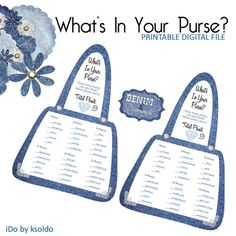 Items similar to Denim and Diamonds What's In Your Purse - Whats In Your Purse - Purse Game - Bridal Shower - Game - Shower Game - Denim and Diamonds - Decor on Etsy Diamond Theme, Diamond Party, Pearl Bridal Shower, Bridal Shower Games, Diamonds And Denim Party, Cell Phone Game, Super Fun Games, Purse Game, Diamond Decorations