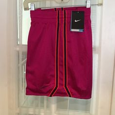 NIKE Training Shorts. Size Small Magenta with a double stripe(orange/navy) down side. Drifit /Stay Cool Technology. Size Small. NWT Nike Shorts