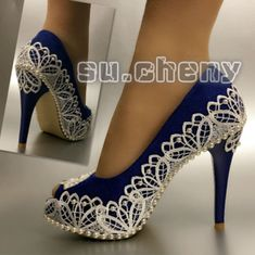 Top 10 Most Gorgeous Bridal Shoes Fancy Shoes, Pretty Shoes, Beautiful Shoes, Cute Shoes, Me Too Shoes, Blue Bridal Shoes, Bridal Heels, Lace Heels, Shoes Heels
