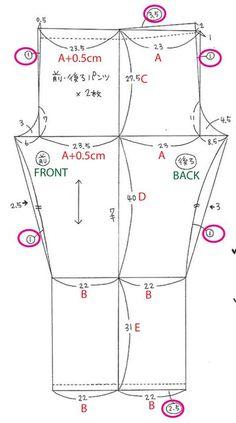 A = (Waist measurement X 1.3) / 4     B = A - (A x 0.05)     C = Waist to crotch     D = Crotch to knee     E = Knee to floor