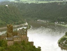 Katz castle and the Lorelei rocks on the Rhine River - Germany
