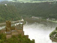 Katz castle and the Lorelei rocks on the Rhine River - Germany