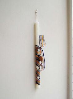 Greek Easter candle with silver bell key by ArktosCollectibles, $20.50