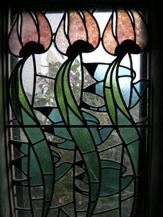 Lovely stained glass window at Blackwell, the Arts and Crafts house.