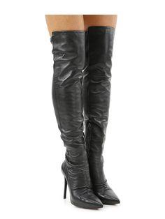 70bc75f69 Stivale in pelle con retro gambale elasticizzato e zip su lato interno.  suola in cuoio
