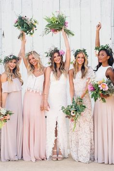Mismatched bridesmaids dresses - boho wedding inspiration