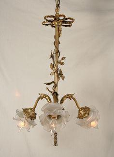 Vintage Victorian Chandelier with Cast Ribbon, c. 1940.  #Vintage #Chandelier www.myrlg.com