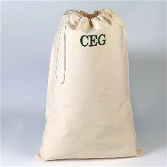 "Monogrammed Laundry Bag by Abernook. $40.00. Our natural canvas laundry bag is just the thing for the job. When it's full...it's time to visit Mom. Every college student needs a way to haul around their laundry. Have it monogrammed for a great gift. 18"" x 28"". Our natural cotton bag measures 18"" x 28"" with drawstring closure and web shoulder strap; machine washable. Our Laundry Bag includes FREE Personalization! Personalize your Laundry Bag with any three line message or ..."