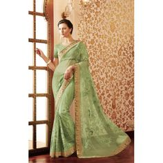 Indian Rag Green Designer Embroidered Net Saree