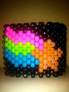 Custom Glow in the Dark Rainbow Supernova kandi cuff by KandiQueenBoutique
