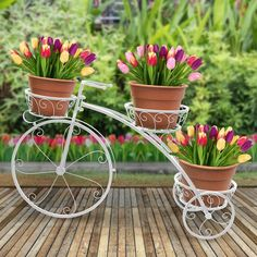 Tricycle Plant Stand Flower Pot Cart Holder Iron Deck Patio Garden Decor Home for sale online Flower Cart, Flower Pots, Flowers, Flower Ideas, House Plants Decor, Plant Decor, Fleur Design, Wrought Iron Decor, Decoration Plante