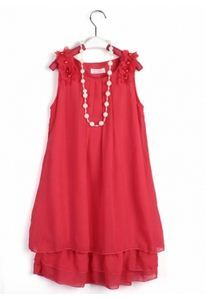 4a97796cff Kids Girl Chiffon Lace Flower Bowknot Gown Dress Pearl Necklace Cute Outfits