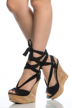 4c957f048345f3 Black Woven Wrap Around Cork Wedges   Cicihot Wedges Shoes Store Wedge Shoes