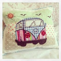 Sewing Cushions Stunning little camper van patchwork cushion Approx Beautiful - Applique Cushions, Patchwork Cushion, Patchwork Quilting, Sewing Pillows, Quilts, Combi Hippie, Sewing Crafts, Sewing Projects, Watercolor Quilt