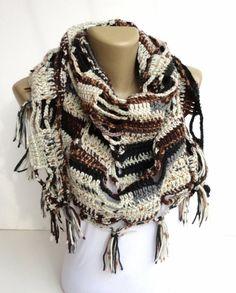 fall color crochet scarf ,shawl ,neckwarmer ,hand crocheted shawl ,unisex cowl ,brown beige ivory scarf , fall fashion on Etsy, $35.00