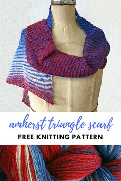 Show your American Pride! Easy Free Scarf Knitting Pattern | Triangle Scarf Free Pattern