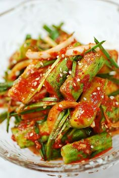Super easy kimchi made with cucumbers! Crisp, crunchy, and delicious! Summer easy and delicious! Easy Healthy Recipes, Asian Recipes, Vegetarian Recipes, Easy Meals, Cooking Recipes, Easy Korean Recipes, Cucumber Kimchi, Korean Cucumber Salad, Veggies