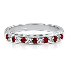 Lab-Created Ruby & White Sapphire Stack Ring in Sterling Silver
