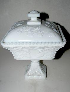 White milk glass harvest pattern wedding bowl with by capecodgypsy, $28.00