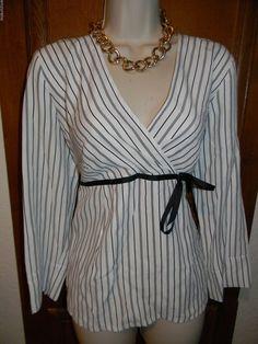 68a3640c1939d Motherhood Maternity Career Blouse Size Small S 4 6 Black White Striped EUC  $40 #MotherhoodMaternity