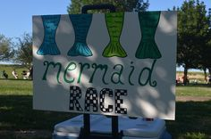 """I think my favorite part of homemade parties is making up the games. For the Mermaid Beach Bash, we resurrected the Ariel """"Treasure Hunt"""" sign… this time we actually hid the gems and jewels and toys in the sand and marked a outline for the kids… Mermaid Party Games, Summer Party Games, Birthday Party Games, 6th Birthday Parties, Birthday Ideas, Pirate Party Games, Fourth Birthday, Pirate Theme, Little Mermaid Birthday"""