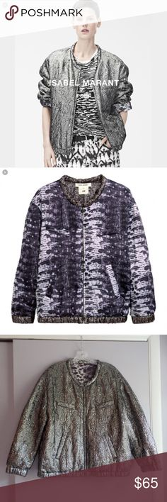 "Isabel Marant Reversible Metallic Bomber Jacket Gorgeous pewter Metallic zip up bomber jacket that reverses to a purple silk snakeprint pattern. Generous fit, would fit 12/14. Measures 25"" across bust, and 25.5"" in length. Great condition, just a little too big for me Isabel Marant pour H&M Jackets & Coats"