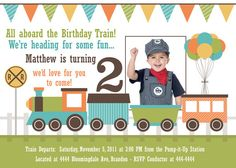 Birthday Train Party Invitations Digital by ShutterbugSentiments, $18.00