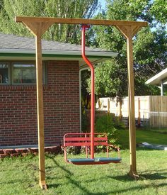 ski lift chair swing - Google Search Outdoor Crafts, Outdoor Projects, Outdoor Rooms, Outdoor Living, Outdoor Decor, Swinging Chair, Chair Swing, Ski Lift Chair, Wicker Table And Chairs