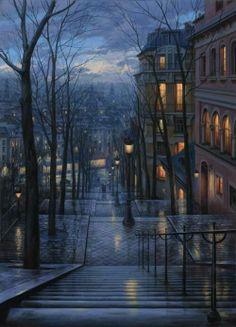 Twilight gathers. A hot chocolate at a friend's Montmartre apartment? #Paris